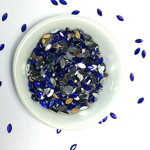 Acrylic / flat back / faceted / marquise / embellishment / deep purple / 2.5x5.5x1mm / ~8g
