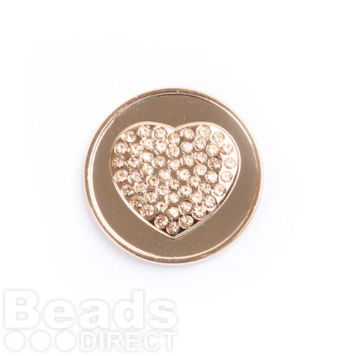 Small Rose Gold Plated Crystal Heart Coin Disk for Interchangeable Locket 24mm Pk1