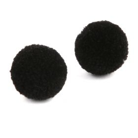 Black Craft Pom Poms 18mm Pk10