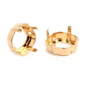 4470/S Swarovski Twin Hole Square Fancy Setting 12mm Gold Plated Pk1