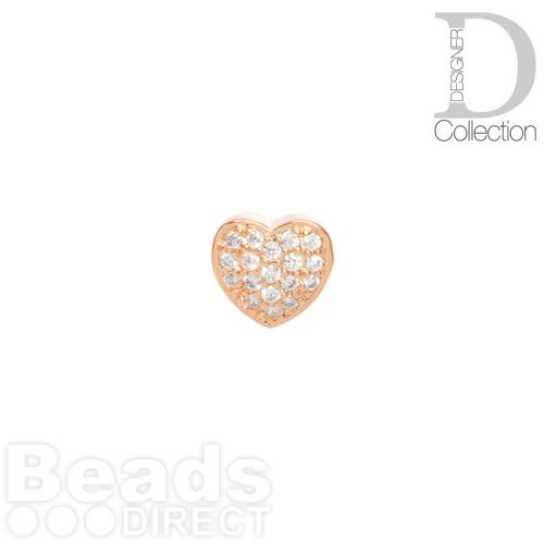 Rose Gold Plated Heart Slider Bead Cubic Zirconia 8mm Hole 4x6mm Pk1
