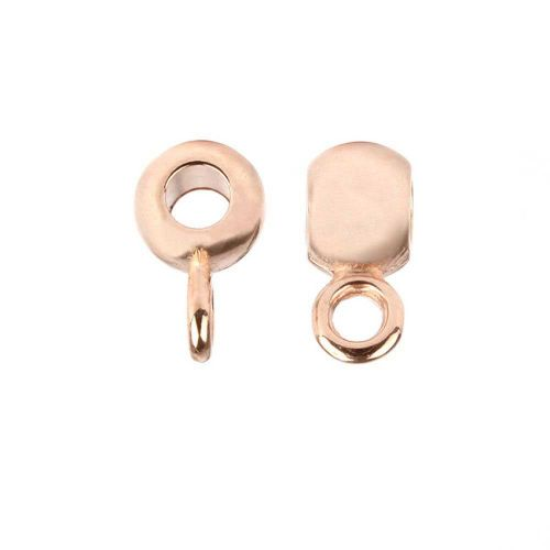 Rose Gold Plated Zamak Round Charm Carrier Bead 5x6mm Pk5