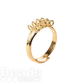 Gold Plated Adjustable Ring Base with 10 Loops Pk1