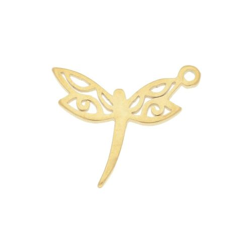 Dragonfly / pendant / surgical steel / 15x12x1.3mm / gold / 2pcs
