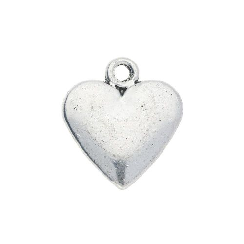 Heart Made With Love / charm / 20x18x3mm / silver / 2pcs