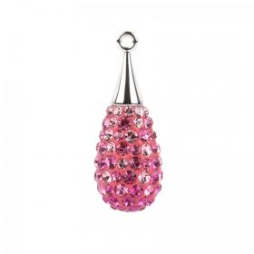 67563 Swarovski Crystal Pave Drop 10x26mm Rhodium Plated Pink Mix Pk1