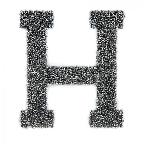 Swarovski Crystal Letter 'H' Self-Adhesive Fabric-It Black CAL Pk1