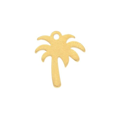 Palm tree / charm / surgical steel / 11x10mm / gold / 2pcs