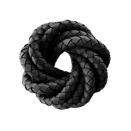Leather cord / natural / round / braided / 5mm / black / 1m