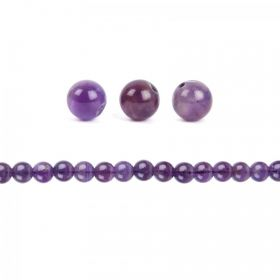 Amethyst Semi Precious Round Beads 10mm Pack of 10
