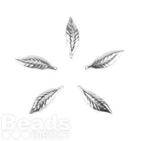 Titanium Plated Small Leaf Charms 6x20mm Pk5