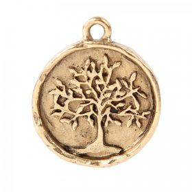 Nunn Design Antique Gold Tree of Life Round Charm 20mm Pk1