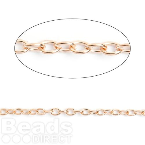 Rose Gold Plated Steel Chain 2x3mm 1metre