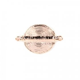 Rose Gold Plated Round Swirl Design Connector 36mm Pk1
