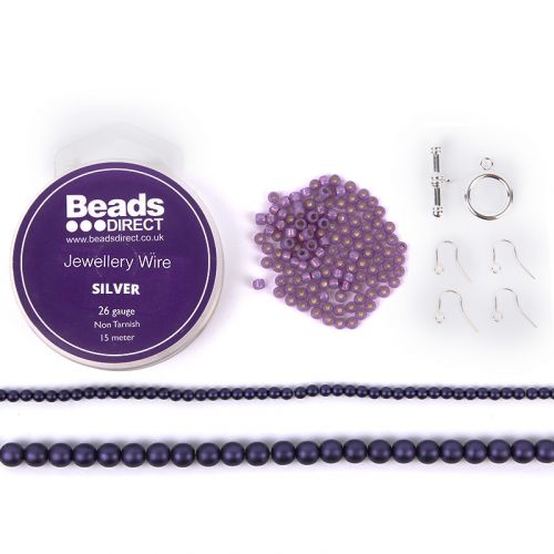 Beads Direct Wire Wrapped Beaded Chain Jewellery Set - Purple and Silver
