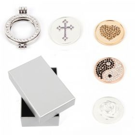 Silver Small Interchangeable Locket with 4 Coins & Box