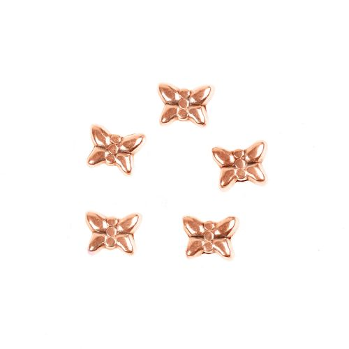 X-Rose Gold Plated Zamak Small Butterfly Beads 5x6mm Pk5