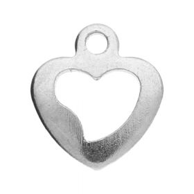 Heart / charm pendant / surgical steel / 10x9x1mm / silver / 4pcs