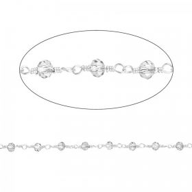 Clear Glass Silver Plated Rosary Bead Chain Pre Cut 1 metre