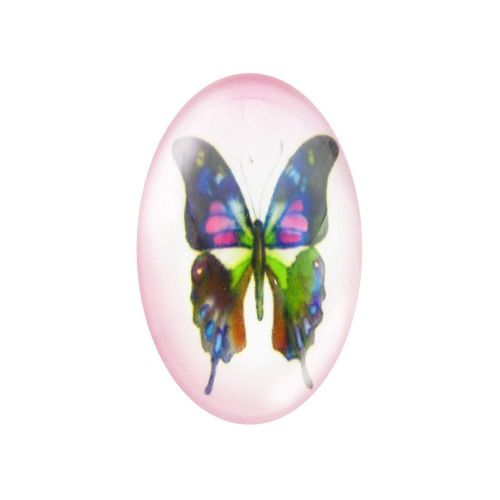 Glass cabochon with graphics oval 13x18mm PT1519 / pink / 2pcs