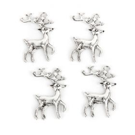 Antique Silver Xmas Stag Charm 23x36mm Pk5