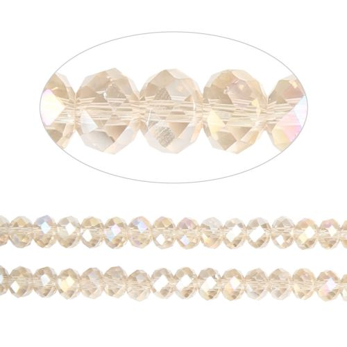X- Essential Crystal Faceted 4mm Rondelle Champagne AB 150pack