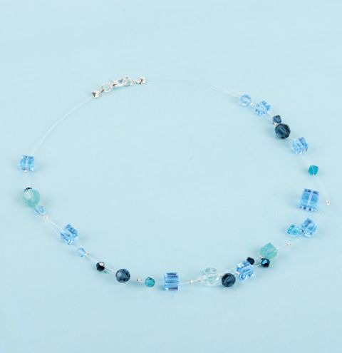 Blue Crystal Floating Necklace