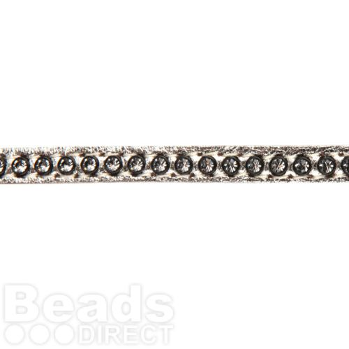 Silver Swarovski Real Leather with Crystals 6mm approx. 48cm