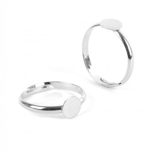 X Silver Tone Ring Base with 6mm Pad Adjustable 15.5mm Pk2