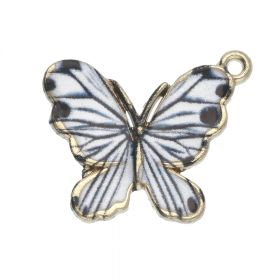 SweetCharm™ butterfly / charm pendant / 18x21x2.5mm / KC gold-black-white / 2pcs
