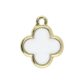 SweetCharm™ Clover / charm pendant  / 15x13x1.5mm  / gold plated / white / 2pcs