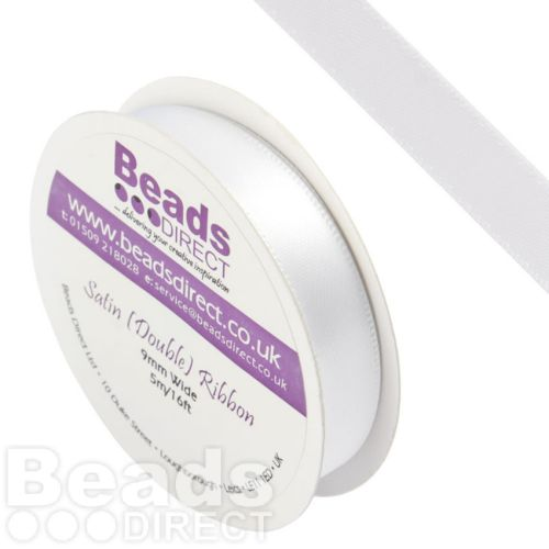 White Double Satin Ribbon 9mm Sold on a 5 Metre Reel
