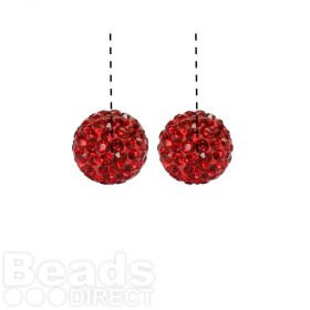 Red Premium Shamballa Fashion Half Drilled 10mm Round Beads Pk2
