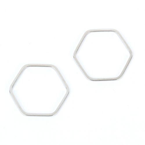 Titanium Plated Hexagon Soldered Ring 19x21mm Pk2