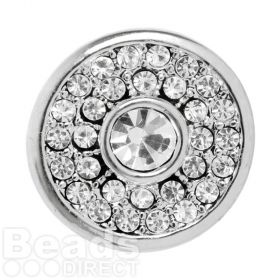 Silver Plated Interchangeable Snap On Disk Large Crystal Centre 20mm Pk1