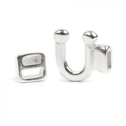 Silver Plated U Shaped Cord End Clasp with Slider 17x15mm 1x Set