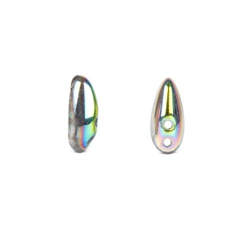 X- Preciosa Pressed Chilli Beads Grey Rainbow 4x11mm Pk20