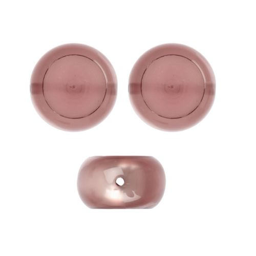 X-Antique Pink Acrylic Polaris Rondelle Bead Holds 2xSS47 Rivoli 9x16mm Pk1