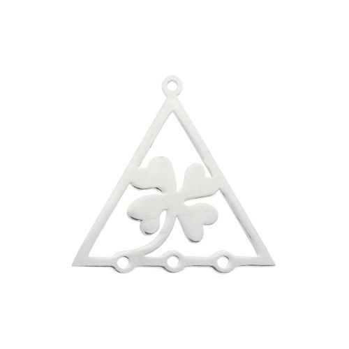 Clover / triangle / connector / surgical steel / 21x21x1mm / silver / 1pcs