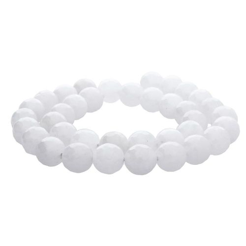 Agate / faceted round / 3mm / milky white / 120pcs
