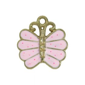 SweetCharm ™ Butterfly / charm pendant / 22x16.5x2.5mm / silver plated / pink / 2pcs