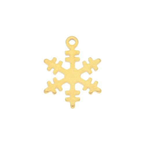 Snowflake / charm / surgical steel / 13x12mm / gold / 2pcs