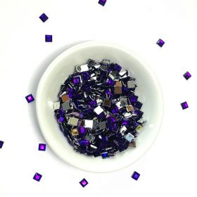 Acrylic / flat back / faceted / square / embellishment / purple / 4x4x1mm / ~7g