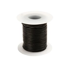 Black Round Leather Cord 1mm 5Metre Reel