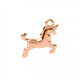 Rose Gold Plated Zamak Unicorn Charm 19x13mm Pack 1