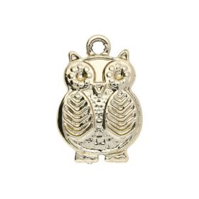 Owl / charm pendant / 20x14x3mm / gold plated / 2pcs