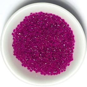 Glass / seed beads / 11/0 / fuchsia lined / clear / ~15g