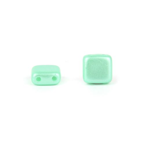 X- Preciosa Pressed Twin Hole Tile Square 6mm Frosted Mint Pk20