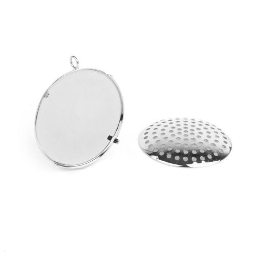 """""""X"""" Silver Plated Large Sieve Disk and Pendant Base 32mm Pk1"""