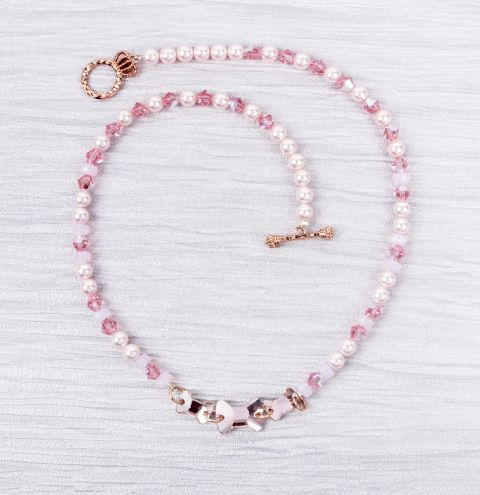 Crystal Pink Bow Necklace